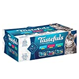 Blue Buffalo Tastefuls Natural Flaked Wet Cat Food Variety Pack, Tuna, Chicken, Fish & Shrimp Entrées in Gravy 3-oz cans (12 count - 4 of each flavor)