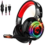 Kootop Gaming Headset for Xbox One,PS4,PC,Noise Cancelling Over Ear Headphones with Mic,RGB Light,Volume-Control, Bass, Soft Memory Earmuffs for Laptop Mac Nintendo Switch Games(Black&Red)