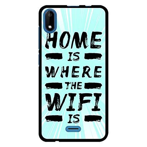 BJJ SHOP Étui Noir pour [ Wiko Y50 / Wiko Sunny 4 ], Coque en Silicone Souple TPU, Design : Text Home est l'endroit où Le WiFi est