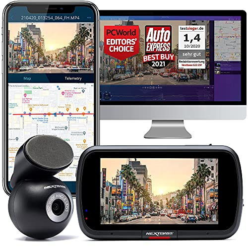 Nextbase 622GW Dash Cam Front and Rear Camera- Full 4K/30fps UHD Recording in Car Camera- WiFi Bluetooth GPS- Slow Motion 120fps- What3Words- Alexa & Polarising Filter Built-in 280° / 360 Dual Viewing