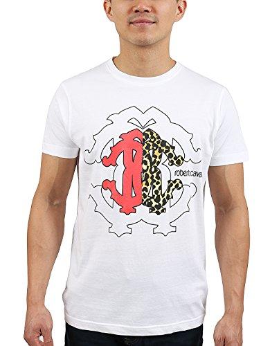 ROBERTO CAVALLI White Crest Logo Crewneck T-Shirt for Mens