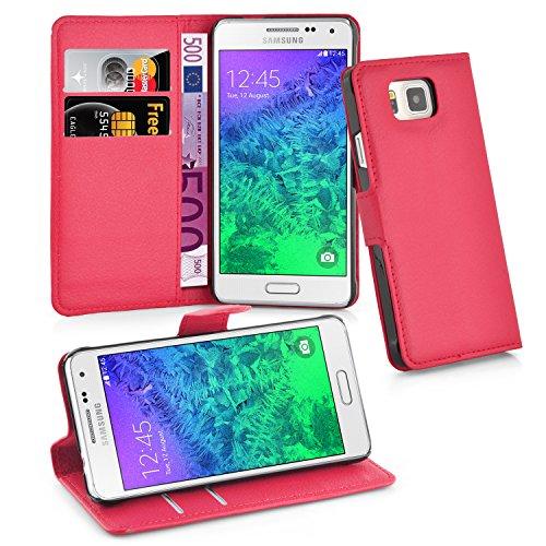Cadorabo Funda Libro para Samsung Galaxy Alpha en Rojo CARMÍN - Cubierta Proteccíon con Cierre Magnético, Tarjetero y Función de Suporte - Etui Case Cover Carcasa