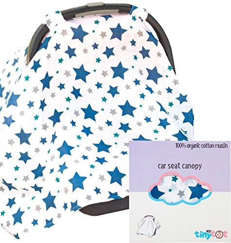 Housse de siège auto – 100% coton bio – Canopy Style Coque SE fixe facilement au siège de voiture pour protéger bébé à partir de soleil ou Vent, fait de plus haute qualité Tissu respirant, Adorable Motif pour garçons