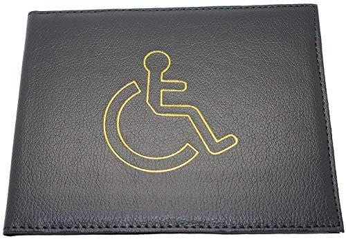 Lorenz Accessoires Geldbörse aus Echtleder mit blauem Behinderten-Symbol, Schwarz