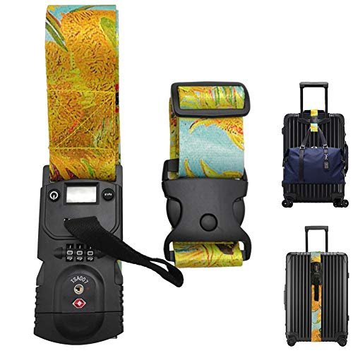 Luggage Straps Luggage TSA Approved Non-Slip Combinaton Lock Digital Scale TSA Compliant Van Gogh Sunfiower Printed Suitcase Belt Add A Bag Luggage Bungee Set