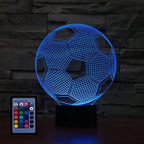3D Fußball Nachtlicht USB-betriebene Fernbedienung Touch-Schalter Dekor Tisch Schreibtisch Optische Täuschung Lampen 7/16 Farbwechsel Lichter LED Tischlampe Weihnachten Home Love Decor Brithday Kind