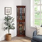 BELLEZE Lorona Floor Standing 5 Sided Lighted Corner Curio Cabinet, Walnut
