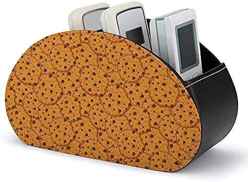 Organizador de soporte de control remoto Patrón de galletas con chispas de chocolate con 5 compartimentos Caja de almacenamiento en el hogar de cuero PU para almacenar TV DVD Blu-Ray