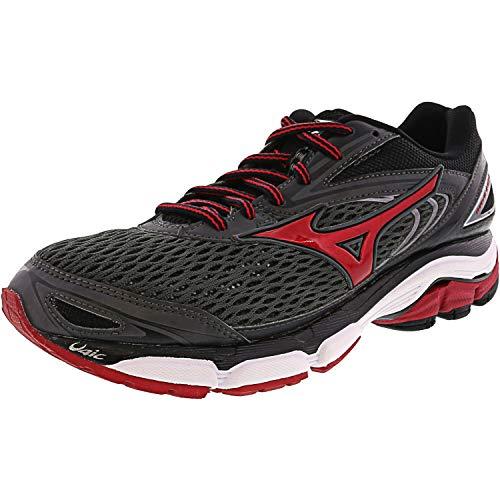 Mizuno Men's Wave Inspire 13 Running Shoe, Gunmetal/High Risk Red, 7 D US
