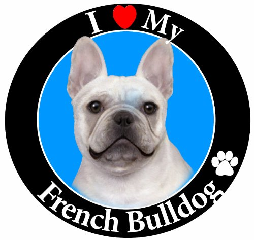 'I Love My French Bulldog' Car Magnet With Realistic Looking French Bulldog Photograph In The Center Covered In UV Gloss For Weather and Fading Protection Circle Shaped Magnet Measures 5.25 Inches Diameter