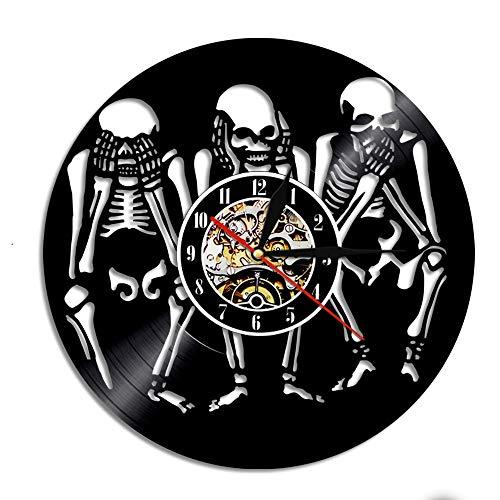 Invisible, sin maldad, arte de la sabiduría de bricolaje colgado en el hueso del reloj en la pared, reloj de pared con disco de vinilo, decoración única de Halloween con luz LED de 12 pulgadas (30 cm)