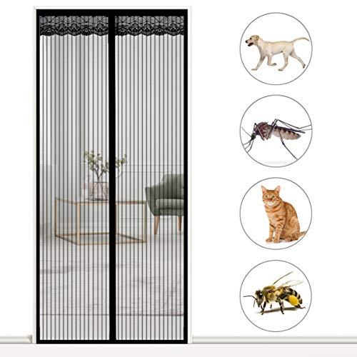 AMZERO Magnet Fliegengitter BalkontüR, 70x230cm Fliegengitter Tür Insektenschutz Insektenschutz Fliegenvorhang HäNde Frei für Balkontür Terrassentür Wohnzimmer, Schwarz