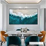 SHKJ Paisaje Lienzo Pintura nórdico Azul océano Tejido Poser e Impresiones Arte de Pared Paisaje Marino Imagen habitación decoración del hogar 70x100cm / 27.5'x39.4 Sin Marco