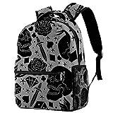 Mochila escolar de 40,6 cm, bolsa de viaje básica para portátil, diseño de tatuaje de terror