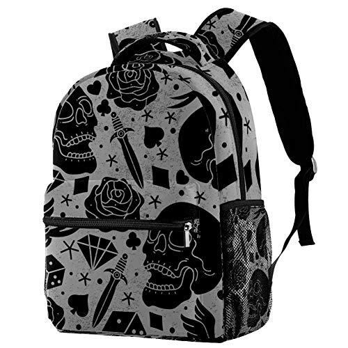 Mochila escolar de 16 pulgadas para estudiantes, bolsa de viaje, básica, para computadora portátil, diseño de tatuaje de terror