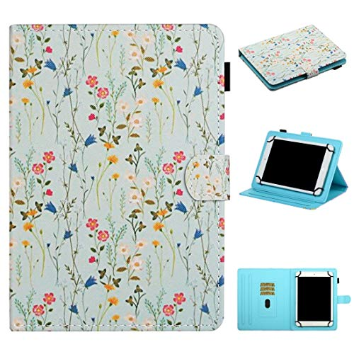 MEMETIAT Funda de piel para tablet de 7 pulgadas, universal, diseño de flores, con ranuras para tarjetas y soporte (color: pequeño floral)