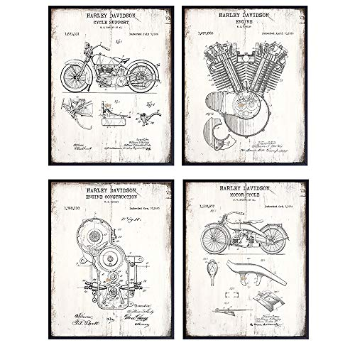 Original US Patents of Harley Davidson Motorcycles - 8x10 Art Set - Sign Style Photo Pictures for Office, Garage, Man Cave or Bar Wall or Home Decor - Cool Gift for Biker - Unframed Poster Prints