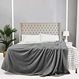 JIAHANNHA Flannel Fleece Blanket Queen Size(90 by 90 Inches),Grey Throw Blanket for Couch Bed Sofa 280GSM,Super Soft Plush Fuzzy and Warm Bed Blanket for All Season
