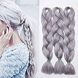 24'(60cm) SEGO 3PCS Extensiones de Pelo Sintético para Trenzas Africanas [Gris] Cabello Se Ve Natural sin Clip Crochet Braiding Twist Hair Extensions (300g)