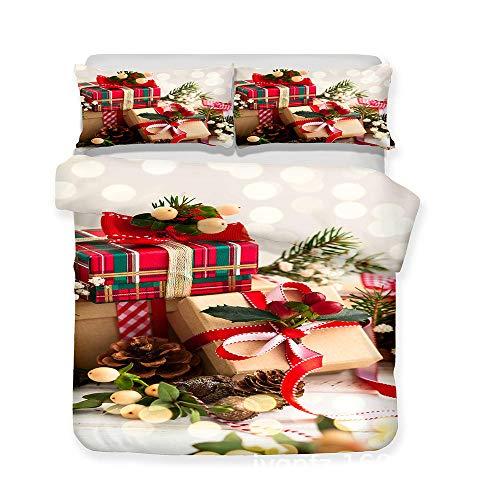 Wzhfsq Juego de funda de edredón de 3 piezas, caja de 200 x 200 cm, para cama doble king y individual, con 1 funda de edredón y 2 fundas de almohada para niños, adolescentes, súper suave, antialérgico