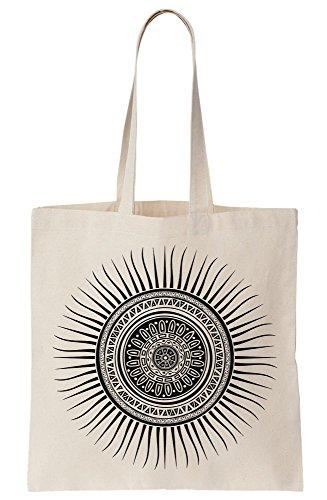 Ornamented Dark Sun Tattoo Style Design Canvas Tote Bag