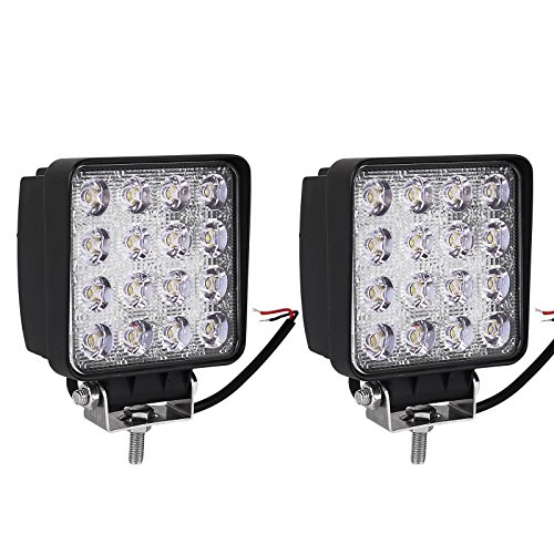 YITAMOTOR LED Light Bar 2Pcs 4inch 48W Square LED Pod Light Flood Light Off Road Light Led Fog Light Truck Light Driving Light Boat Light Pickup SUV ATV UTV Waterproof, 2 Year Warranty