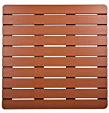 I FRMMY Premium Large Bath Tub Shower Floor Mat Made of PS Wood- Suitable for Textured and Smooth Surface- Non Slip Bathroom mat with Drain Hole - 21.8' x 21.8' (Teak Color)