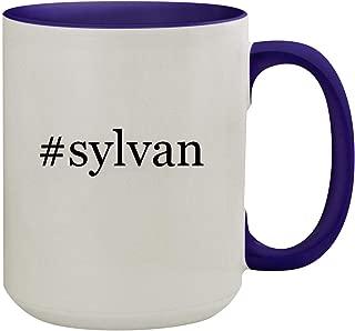 #sylvan - 15oz Hashtag Ceramic Inner & Handle Colored Coffee Mug, Deep Purple