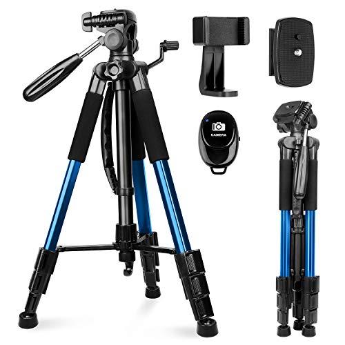 Kamerastativ, Sunfoto 160cm Leichtes Stativ aus Aluminium mit 2 Schnellwechselplatte, Tragetasche, Handyhalterungfür Smartphone DSLR SRL Canon Nikon Sony Olympus Blau