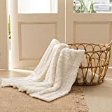 Simple&Opulence Plush Fluffy Throw Blanket Tridimensional Rose Pattern - 50'x 60' - Reversible Dual Sided Soft Warm Microfiber Cozy Chic Shaggy Cuddly for Home Décor Couch (White)