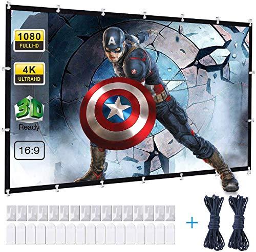 Powerextra Pantalla para Proyector 120 Pulgadas 16: 9 HD Plegable Antiarrugas Portátil Projector Screen Lavable para Cine en casa Soporte al Aire Libre Doble de Proyección