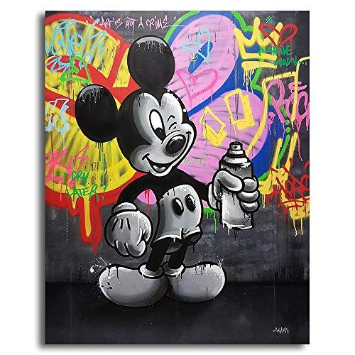 Orlco Art Graffiti Art Canvas Banksy Graffiti schilderij Mickey Mouse Art Prints Street Urben schilderij kunst kleurrijke 48