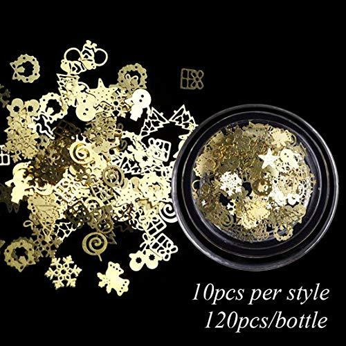 Meiyy Nageldecoratie, 1 box, kerstmis, metalen schijven, goud, nail art 3D, hollow snowflakes sterrenpailletten, nageldesign, manicure-accessoires Round Bottle