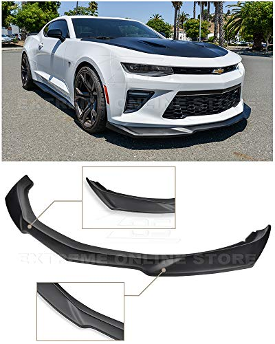 Replacement For 2016-Present Chevrolet Camaro SS | ZL1 Style Front Bumper Lower Lip Splitter (ABS Plastic - Primer Black)