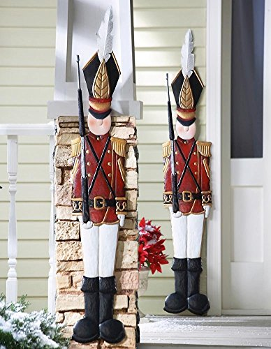 CT DISCOUNT STORE Deep Red Jacket Metal Toy Soldiers Nutcracker Christmas Spirit Holiday Wall Hanging Decoration (A Set 0f 2 Metal Toy Soldier)