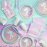 Iridescent Mermaid Party Birthday Party Supplies Kit, Serves 8