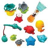 Infantino - Splish & Splash bath set coffret de 17 jouets de bain - Aspergeurs, pêche à la ligne, gobelets fontaine - pour s'amuser dans le bain et stimuler les sens et la coordination oeil-main