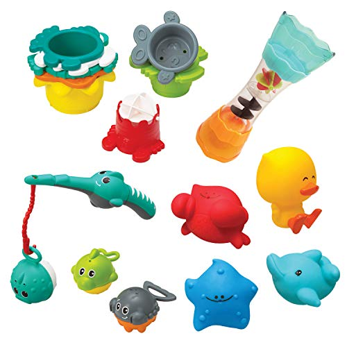 Infantino Splish & Splash Wasserspiel-Set – Badespielzeug für Babys – Mit 17 verschiedenen Teilen – Fördert die Augen-Hand-Koordination und die grobmotorischen Fähigkeiten
