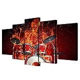 5 Panel/Set Lienzos Handart Cuadro En Lienzo Cinco Partes HD Clásico Óleo Impresiones Decorativas Cartel Arte Pared Pinturas Hogar Lienzo Skeleton Drummer Skull Drums Pintura De Fuego