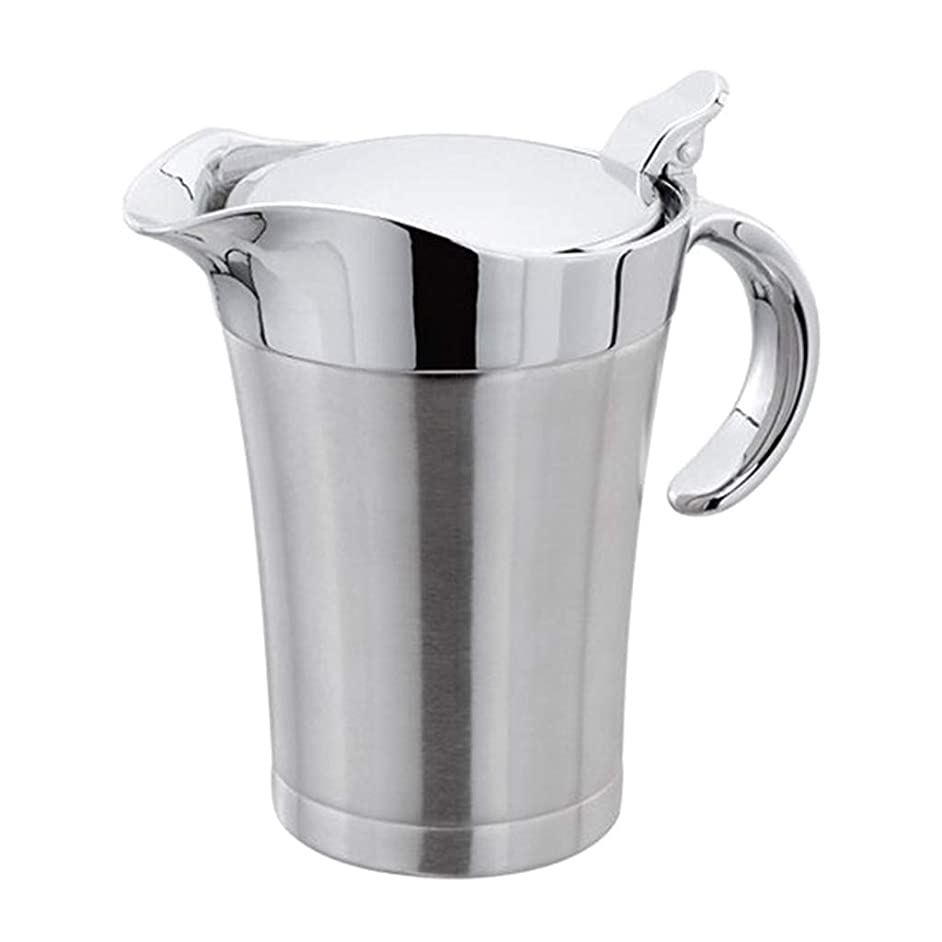 Fenteer Gravy Boat, Stainless Steel Gravy Sauce & Dressing Boat Double Insulated Handle Wide Spout & Hinged Lid Kitchen Pourer Pot, 750ml