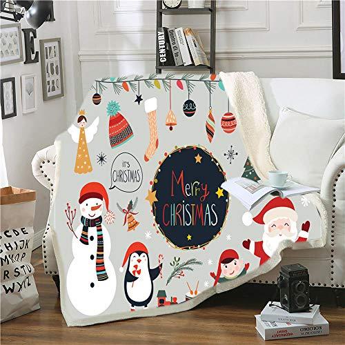 Manta Polar Felpa de Sofá Calcetines de muñeco de Nieve Gris Blanco Rojo Santa Mantas de Lana para sofá/Cama Manta de Felpa para Todas Las Estaciones para Adultos y niños 180 cm x 200 cm