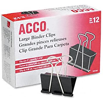 ACCO Binder Clips, Large, 1 Box, 12 Clips/Box (72100)