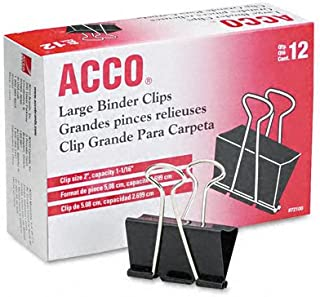 ACCO Binder Clips, Large, 1 Box, 12 Clips/Box (72100)