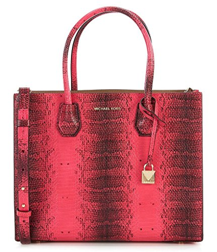 """Bag converts from a tote to a crossbody by attaching strap Snake Embossed Leather, Open top 2 open compartments, 1 center zip compartment, 1 zip back pocket 4-1/4""""L double handles; 22""""-25""""L adjustable strap 12-1/2""""W x 9-3/4""""H x 5-1/2""""D"""