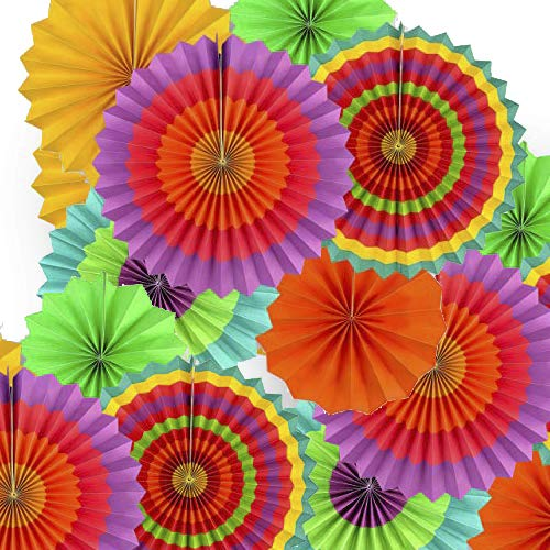 """Adorox Set of 12 Vibrant Bright Colors Hanging Paper Fans Rosettes Party Decoration for Holidays 8"""" 12"""" 16"""" Various Sizes Fiesta (2 pack) …"""