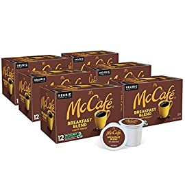 McCafé Breakfast Blend, Keurig Single Serve K-Cup Pods, Light Roast Coffee Pods, 72 Count 1 TASTE: Be bold with every sip of this deliciously dark roasted blend. It boasts an intense aroma and has hints of dark cocoa flavor ROAST: Dark Roast caffeinated coffee made with 100% Arabica beans, and certified Orthodox Union Kosher (U) RECYCLABILITY: Introducing McCafé Recyclable* K-Cup Pods. The same great taste, now made from recyclable material. *Check locally, not recycled in all communities
