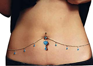 Women Sexy Rhinestone Belly Button Ring Surgical Steel Love Heart Pendant Dangle Piercing Navel Waist Chain Body Jewelry blue H430