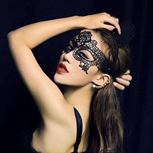 Antifaz mariposa WLM sexy encaje club nocturno-fiesta Navidad colour negro