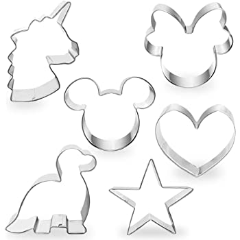 """COTEY Cookie Cutters 4"""" to 3"""" Set of 6 Mickey & Minnie Mouse Unicorn Dinosaur Heart Star Hot Biscuit Cake Fondant Pancake Cutter Mold for Kids Children Holiday Celebration Birthday Party"""