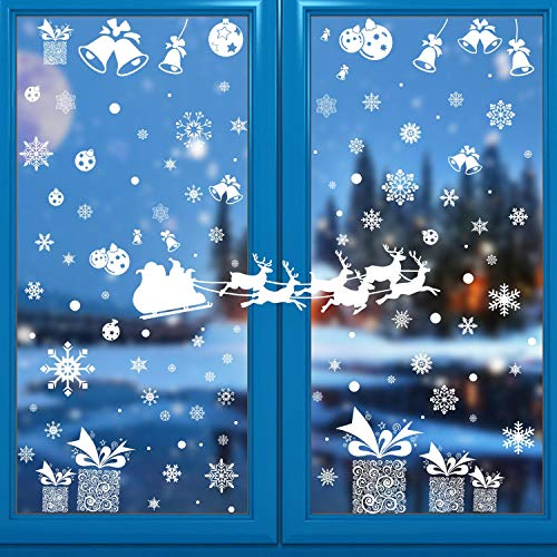 heekpek 10 Blatt Fensterdeko Schneeflocken Schneeflocken Fensterbilder Abnehmbare Fensterdeko Statisch Haftende PVC Aufkleber für Weihnachts-Fenster Dekoration Türen Schaufenster Vitrinen Glasfronten